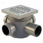 Sifon pardoseală 3IN D.40-1OUT vertical D.50 H80 prel. și  grat.inox