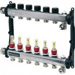 Distribuitor TECEfloor SLQ Rectangular oțel inox, complet echipat 7 căi x 3/4'' x 1